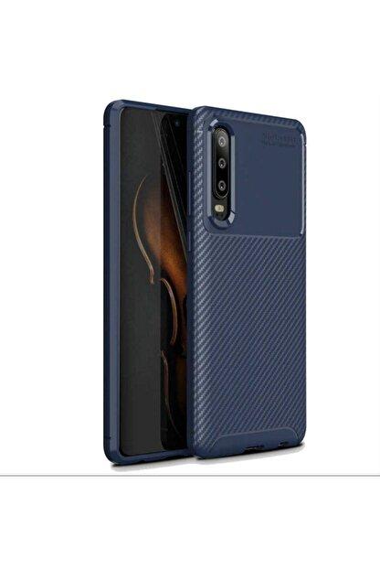 Ack Huawei P30 Kılıf Slim Fit Kamera Korumalı Karbon Silikon Lacivert