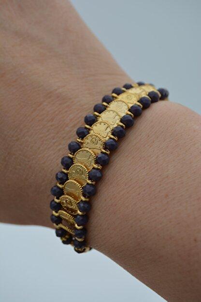 Stoneage Altın Kaplama Bileklik Çek Kristali