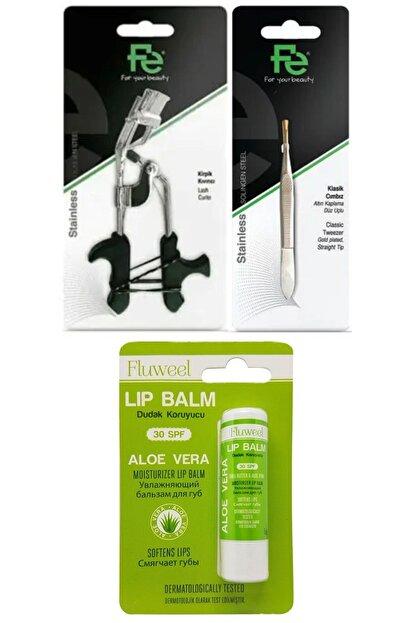 Fe Kirpik Kıvırıcı- Cımbız Klasik & Fluweel Lip Balm Dudak Koruyucu Aloe Vera 30 Spf 5 Gr