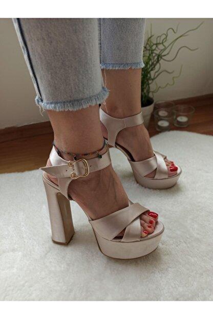 DS AYAKKABI Kadın Bej Saten Platform Abiye Ayakkabı