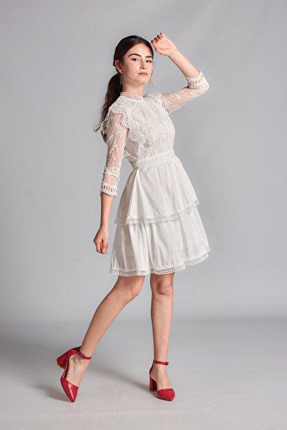 Housebutik Kadın Beyaz Güpür Detay Kat Kat Elbise