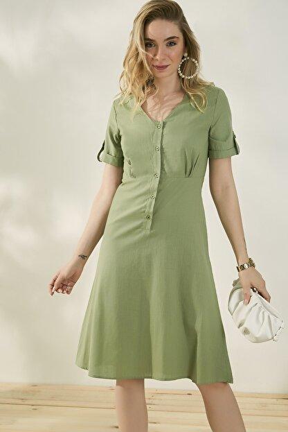 Peeri Kadın Çağla Yeşili Elbise P529Kel153