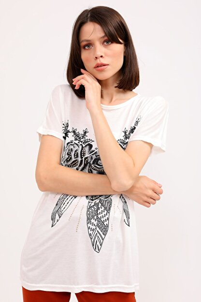 metropol tekstil Kadın Bej  T-Shirt