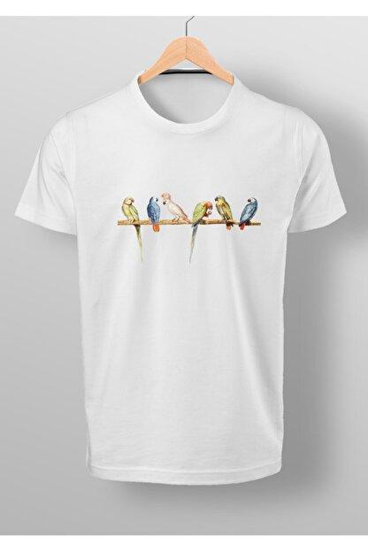 By Okat Renkli Kuşlar Baskılı T-shirt