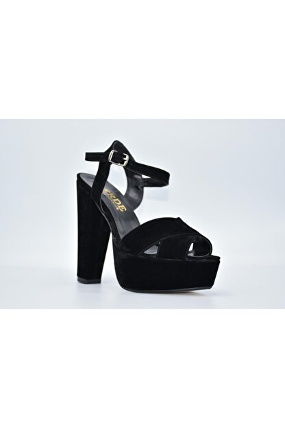 Papuç Sarayı Milena 200 Süet Siyah Renk Platform Topuklu Ayakkabı 172
