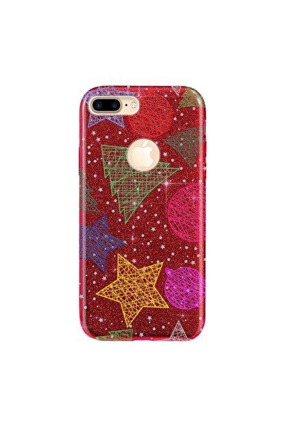Cekuonline Iphone 7 Plus Kılıf Simli Shining Desenli Silikon Kırmızı - Stok788 - Noel Yıldız