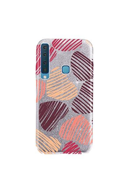 Cekuonline Samsung Galaxy A9 2018 Kılıf Simli Shining Silikon Gümüş Gri - Stok249 - Kalp19
