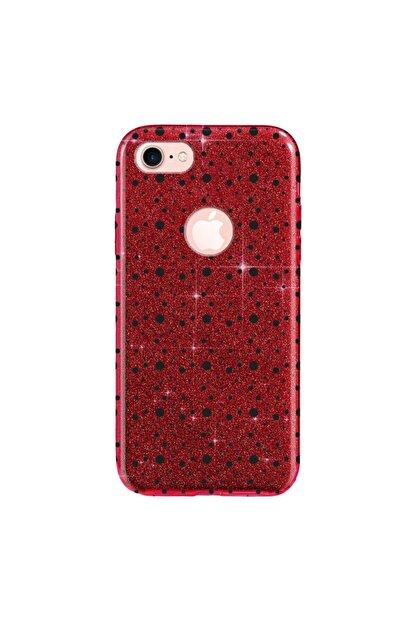 Cekuonline Iphone 6 6s Kılıf Simli Shining Desenli Silikon Kırmızı - Stok118 - Benekli