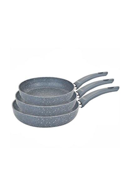 HAZARPAZAR Granit Tava Seti Boy 16-20-24 Cm Yanmaz Yapışmaz Çizilmez Set 3 Boy