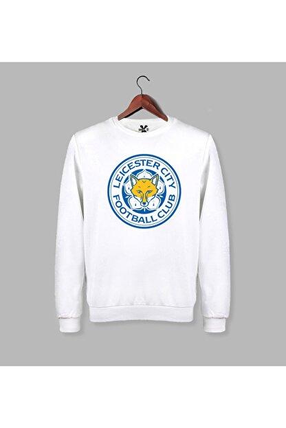 Darkia Erkek Beyaz Leicester City Baskılı Uzun Kollu Sweatshirt