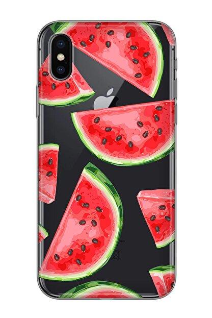 Mobilteam Apple Iphone X Siyah Baskılı Silikon Telefon Kılıfı