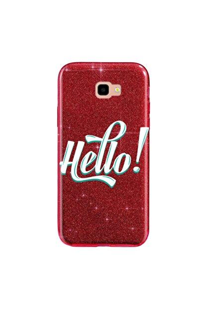 Cekuonline Samsung Galaxy J7 Prime Kılıf Simli Shining Silikon Kırmızı - Stok317 - Hello