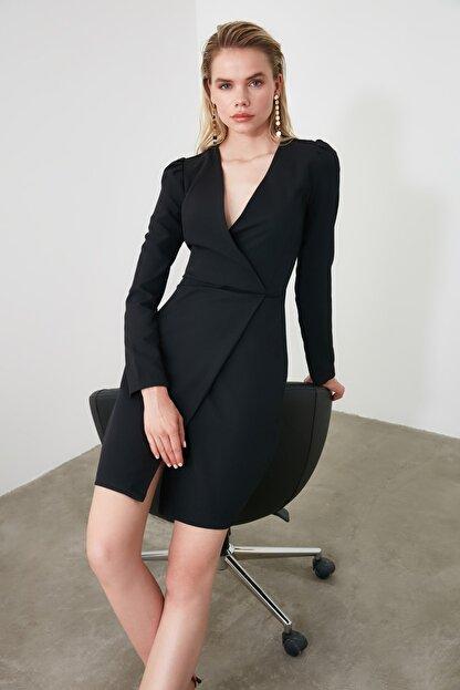 TRENDYOLMİLLA Siyah Kruvaze Elbise TWOAW20EL1341