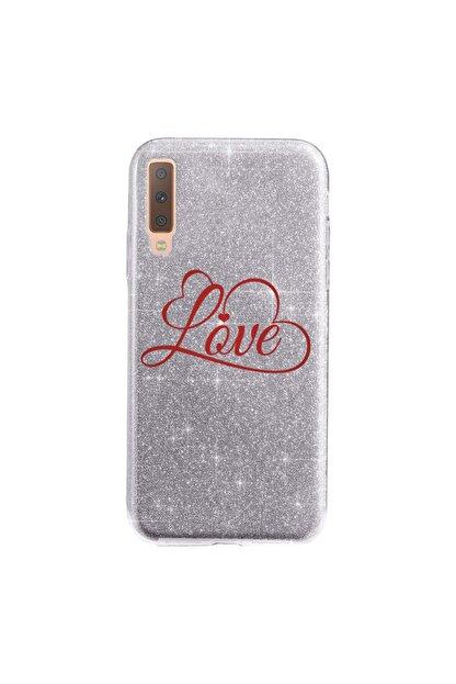 Cekuonline Samsung Galaxy A7 2018 Kılıf Simli Shining Silikon Gümüş Gri - Stok321 - Loveinlove
