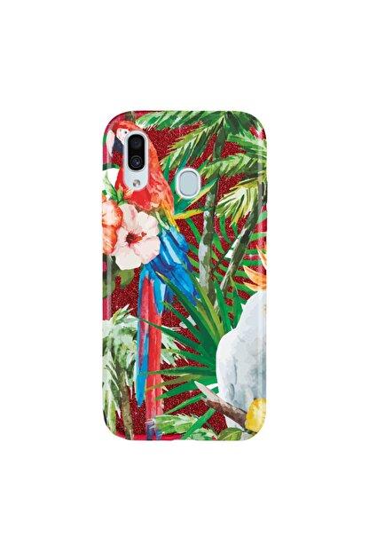 Cekuonline Samsung Galaxy M20 Kılıf Simli Shining Desenli Silikon Kırmızı - Stok81 - Painting