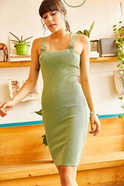 Olalook Kadın Çağla Yeşili Kuş Gözü Detaylı Yazlık Triko Elbise ELB-19001212