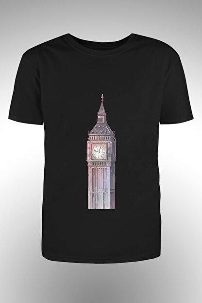 By Okat Saatli Kule Baskılı T-shirt