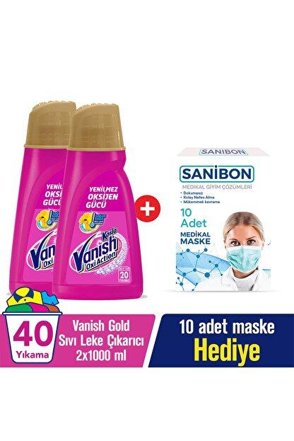 Vanish Kosla OxiAction Gold Çamaşır Sıvı Leke Çıkarıcı 2X1000 ml + 10'lu Maske