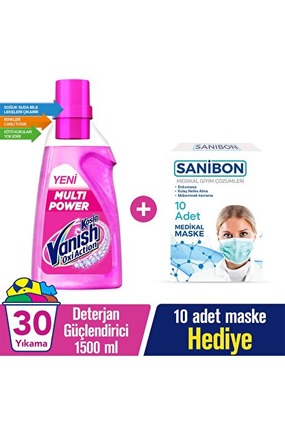 Vanish Multipower Deterjan Güçlendirici 1500 ml + 10'lu Maske