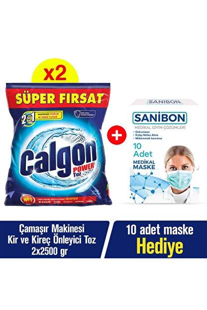 Calgon Çamaşır Makinesi Kireç Önleyici Toz - 2 Adet 2500 gr + 10'lu Maske