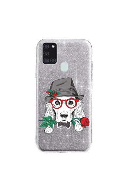 Cekuonline Samsung Galaxy A21s Kılıf Simli Shining Desenli Silikon Gümüş Gri - Stok818 - Aşk Köpeği