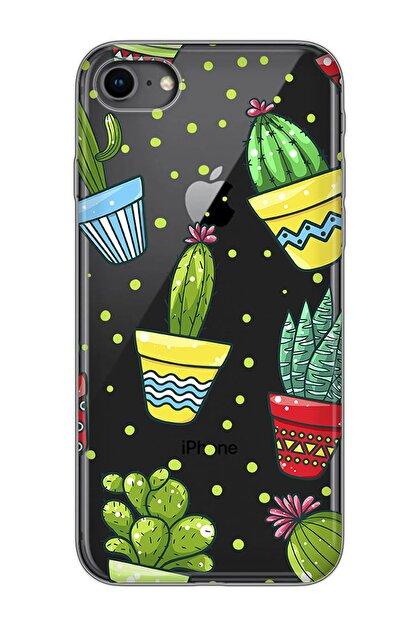 Mobilteam Apple Iphone 8 Siyah Baskılı Silikon Telefon Kılıfı