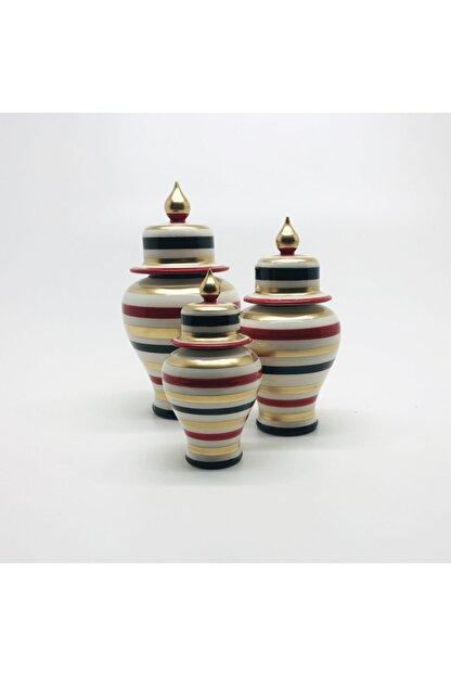 Decorandmore Dekoratif Şah Küp M 3lü Set Kırmızı Siyah Gold Zebra