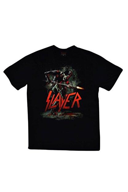 fame-stoned Unisex Siyah Slayer Baskılı T-shirt