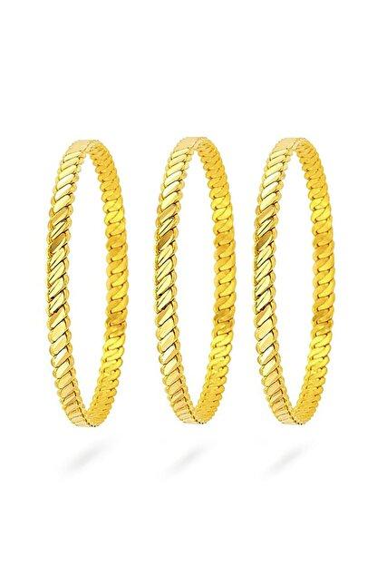 dehaberkstore Orjinal 22 Ayar Altın Kaplama Burma Bilezik 6,6 Cm (3 Lü Set)
