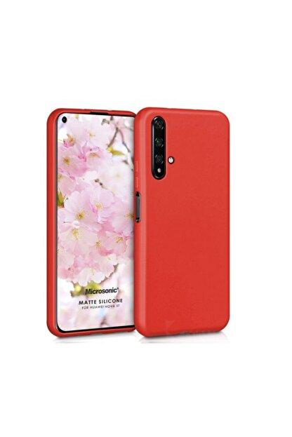 ACK Huawei Nova 5t Kılıf Ultra Slim Fit Pürüzsüz Mat Silikon Kırmızı
