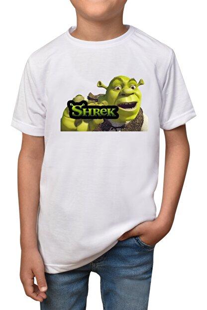 GiftStore Shrek- Beyaz Çocuk - Yetişkin Unisex T-shirt T-4