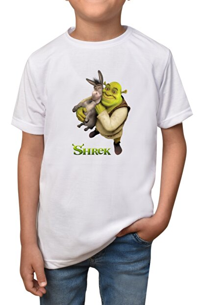 GiftStore Shrek- Beyaz Çocuk - Yetişkin Unisex T-shirt T-15