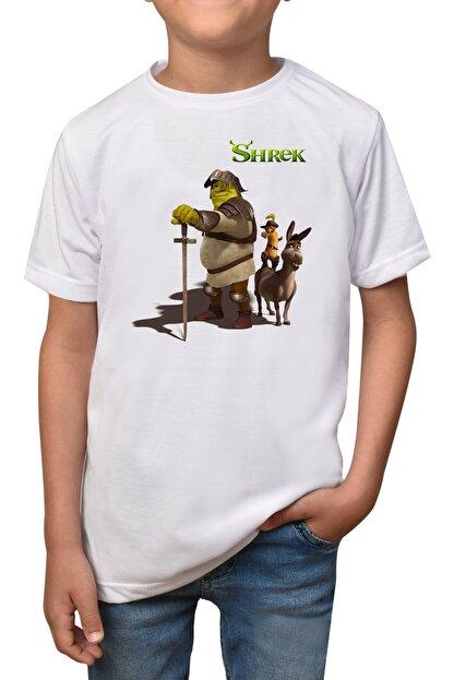 GiftStore Shrek- Beyaz Çocuk - Yetişkin Unisex T-shirt T-8