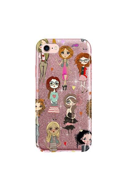 cupcase Iphone 6s Plus Kılıf Simli Parlak Kapak Pembe Rose Gold - Stok715 - Kolej Modası