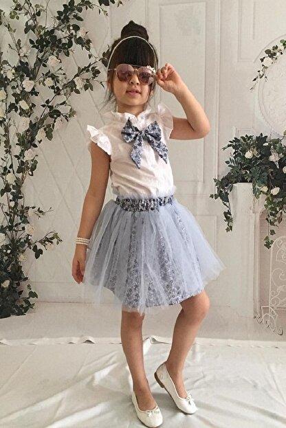 MARCHİO&MİO Kız Çocuk Mavi Etek Buluz Takım