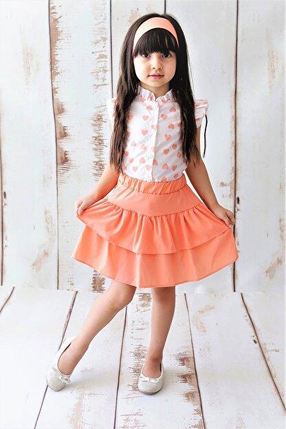 MARCHİO&MİO Kız Çocuk Pembe Kalpli Gömlek Etek Takım