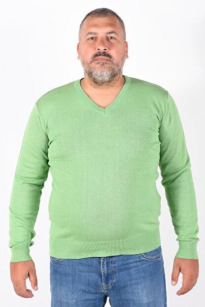 Trist Star Erkek Fıstık Yeşili V Yaka Kazak