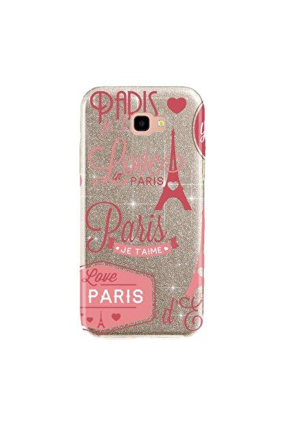cupcase Samsung Galaxy J7 Prime Kılıf Simli Parlak Kapak Altın Gold Renk - Stok2 - Pink Paris