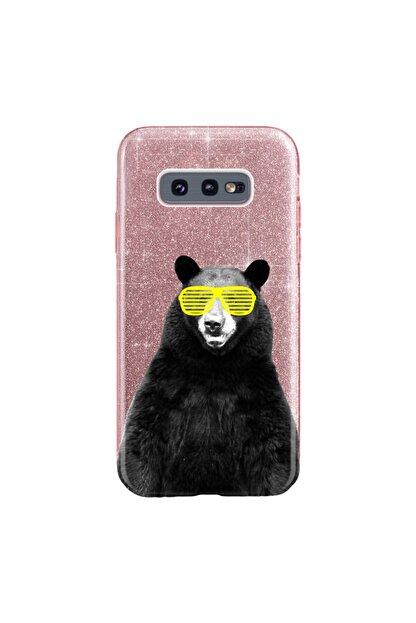 cupcase Samsung Galaxy S10e Kılıf Simli Parlak Kapak Pembe Rose Gold - Stok709 - Kanye Bear