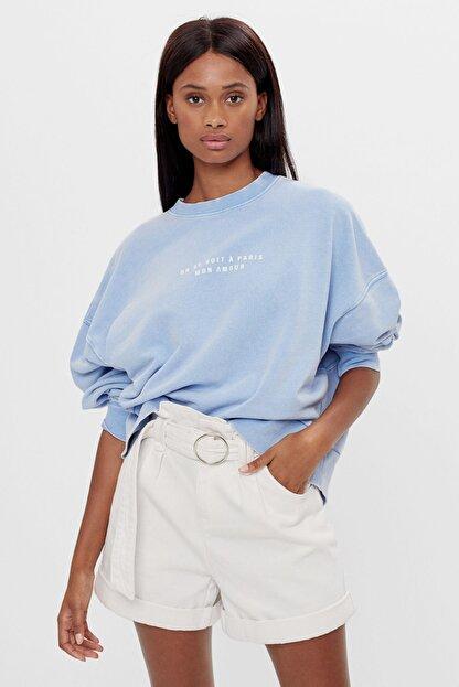 Bershka Kadın Açık Mavi İşlemeli Baskılı Sweatshirt 06844443