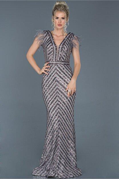 Abiyefon Kadın Antrasit Uzun Pul İşlemeli Otrişli Abiye Elbise