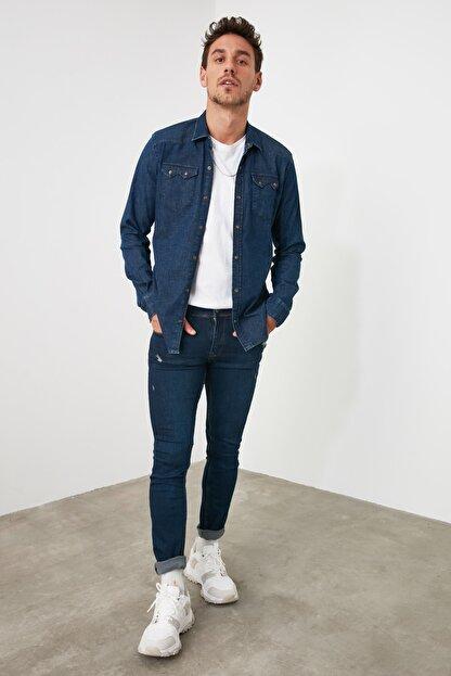 TRENDYOL MAN Lacivert Erkek Tırmık Destroylu Skinny Jeans TMNAW20JE0437