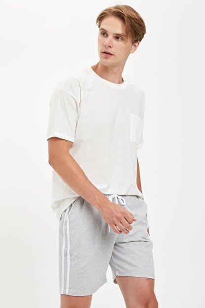 Defacto Erkek Gri Şeritli Detaylı Bağcıklı Slim Fit Şort S2212AZ20SM