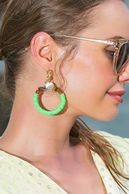 Trend Alaçatı Stili Kadın Yeşil Boncuklu Halka Küpe ALC-A1922