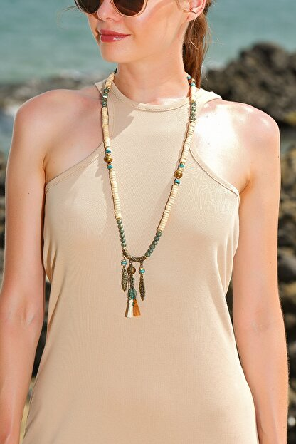 Trend Alaçatı Stili Kadın Ekru Doğal Taş Kolye ALC-A1951