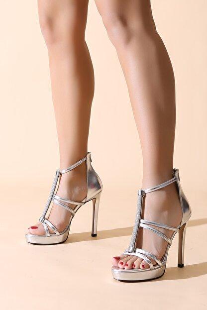 ALTINAYAK Arka Fermuarlı Taşlı Direkli Açık Platform Ayakkabı