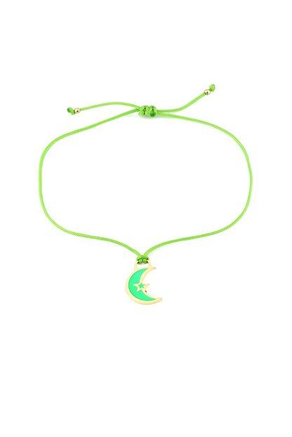 MySilvers Yeşil Neon Hilal Temalı Ipli Gümüş Halhal