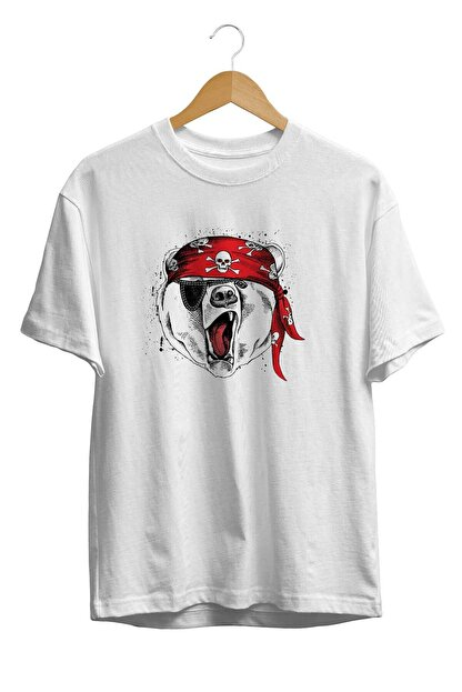 Burlu Unisex Beyaz Kızgın Ayı Teddy Cool Kurukafa Bandana Baskılıu T-Shirt