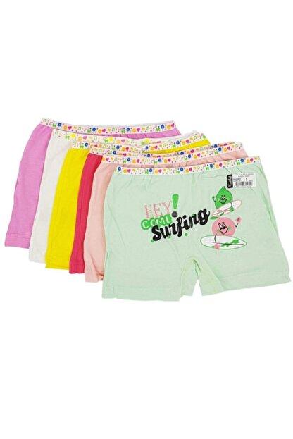 Tutku Kız Çocuk Renkli Likralı Pamuk Boxer 12'li Paket