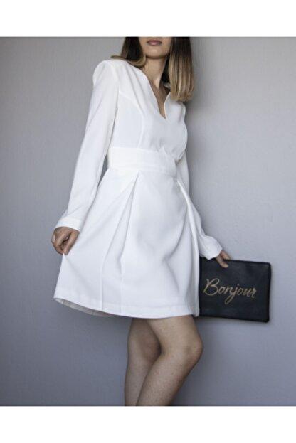 ÑOVUM PERA Kadın Beyaz Uzun Kollu Vatkalı Elbise
